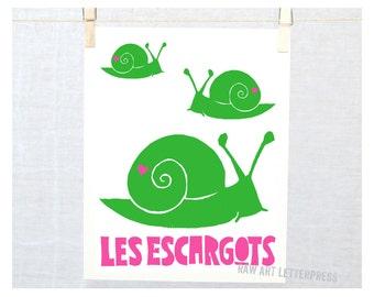 Les Escargots, Snail Art, Snail Print, Baby Wall Art, French Art Print, Cute Garden Art, Kids room, Wall decor, French, Modern Nursery Art
