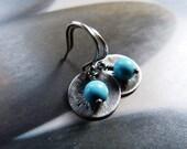 Howlite turquoise dandelion silver earrings, Sterling silver disc, rustic dangle earrings, natural jewelry