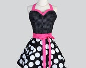 Sweetheart Retro Apron - Sexy Vintage Rockabilly Apron Black and White Polka Dot Hot Pink Flirty Full Kitchen Womens Apron