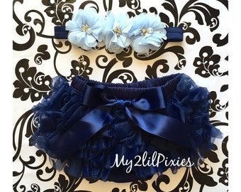 Baby Girl Ruffle Bottom Bloomer with Satin bow and Headband Set- Navy Blue Headband. Flower Headband, Diaper cover, set ,Newborn bloomer