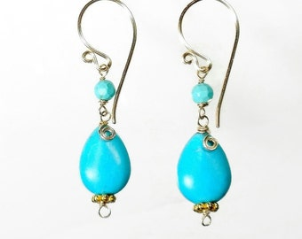 Gold and Turquoise Earring, Turquoise Drop Earring, Turquoise Briolette Earring, Turquoise Jewelry