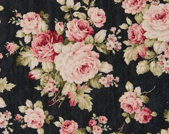 Cosmo Cotton Fabric KP9039-1E Cabbage Rose on Black