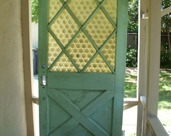 Vintage Exterior Front Door // Green White // Solid Wood Bottle Glass // Old Architectural Salvage // House Home Decor
