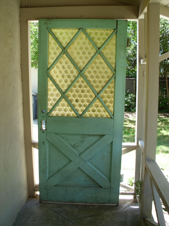 vintage exterior door // green white // solid wood & bottle