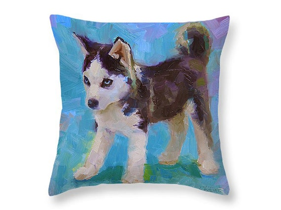 Cute Husky Puppy Dog Pillow by Karen Whitworth by WhitworthGallery