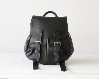 Small Leather backpack in black for woman,back bag,everyday backpack,rucksack,knapsack,purse - Mini Artemis backpack
