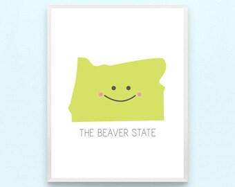 Oregon State Nursery Art Print - Home Kids Playroom Art, Boys, Girls, Childrens Art, Minimalist, Modern