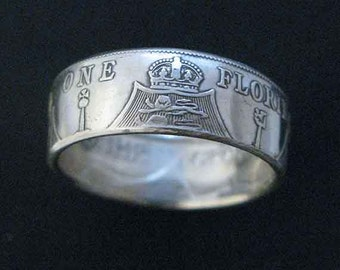 Hand Forged Double Sided Silver (92/50%) Coin Ring - Great Britain Florin