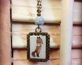 Young Master Fox Necklace, Petite Antique Bronze Frame