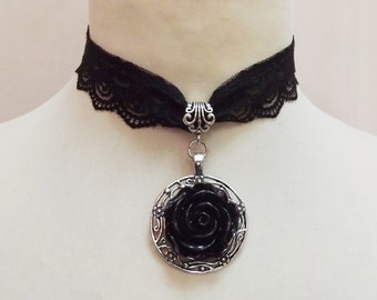 Black rose    necklace, choker, for  Gothic styles