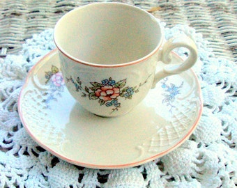 "Vintage Villeroy & Boch, Danbury Mint, Heinrich ""Rosette""Pattern,Porcelain Demitasse Cup Saucer, England, Serving, cr.1980,Tea/Coffee,Floral"
