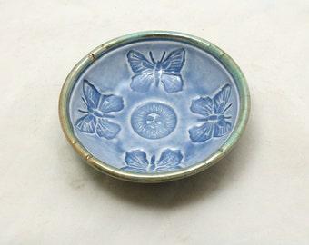 Butterfly Raku Offering Bowl Handmade Pottery