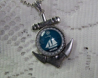Anchor Pendant, Sail the Ocean Blue Art Pendant, Silver plated Anchor with raised dome, Sloop, Sailing, Boating, Ocean, Sailing Ship, Ketch