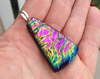 Colorful Triangle Dichroic Glass Pendant