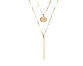 Layered Necklace Set | Bar and Disc Necklace | Sterling Silver or 14kt Gold Filled | Line and Dot Necklace