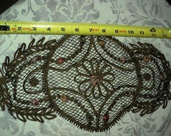 1920s Metallic Bullion Applique Mesh Net Silk Ribbonwork, ribbon roses French Large Floral Ideal Framed Antique Supplies
