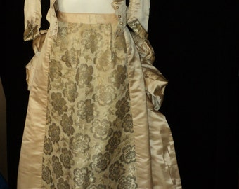 FINAL SALE 1860-1870 Wedding Gown Metallic Brocade Panel Skirt Pearl Button Bodice Bustle Historical Museum Quality with Ruffled Trim SALE
