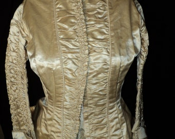 Antique Wedding Bodice 1880s Victorian Ruched Sleeves and Front Long Back with Bow and Bows on Cuff Museum Quality