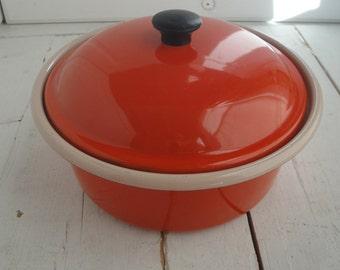 Vintage Enamel Pot Lid Orange