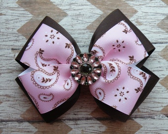 """5.5"""" Brown and Pink Layered Bow, Paisley Bow, Cowgirl Bow, Back to School, Pink Bow, Brown Bow, Fall Bow"""
