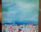 Take Me to the Beach Painting 9x12 Thick Canvas Wrapped Original Art Free Shipping
