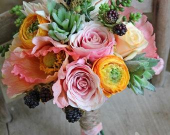 Rustic Peach Coral Pink Succulent Rose Wedding Bridal Bouquet
