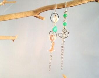 FREE SHIPPING Asymmetrical Sterling Silver Earrings (style 3288)