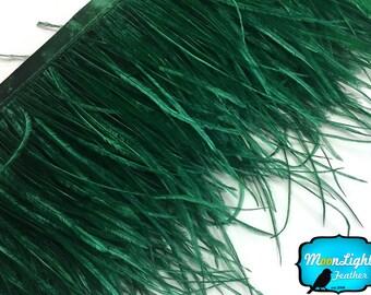 Ostrich Fringe, 6 Inch Strip - HUNTER GREEN Ostrich Fringe Trim Feather : 3862