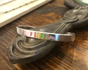 PRIDE Stamped Cuff | Gay Pride Bracelet | Rainbow Bracelet