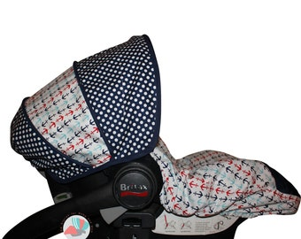 Infant Car Seat Cover Multi Anchors with Dots