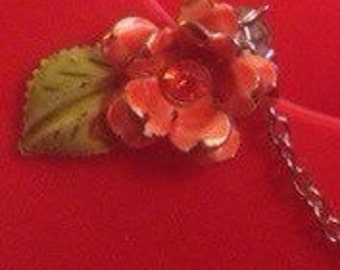 Coral Rose Sweater Clip- Upcycled