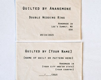 Classic Quilt Label - Large Personalized Quilting Tags in Organic Cotton, set of 4