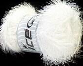 White Eyelash Yarn Ice Eyelash 100gr 22698 Optical White, Bright White Fun Fur for Holiday Crafting, Fiber Jewelry, Weaving, Scarves, Shawls