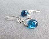Blueberry Dangle Earrings, Blue Lampwork Earrings, Silver Infinity Earrings, Blue Earrings, Blue Dangles, Sterling Silver Wire Earrings