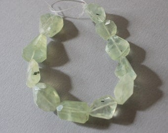 Faceted Prehnite Grossular Garnet Nuggets Step Cut 7 Inch Long Strand 12mm - 16mm