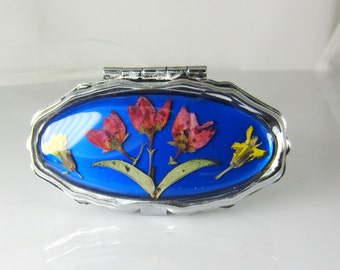 Real Flowers  Pill Box with Mirror, Pressed Flowers, Pressed Flower Accessories, Resin (1600)