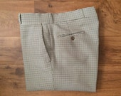 Vintage Men's 80's Houndstooth Pants, White, Brown, Flat Front, Polyester by Asher (36 x 32)