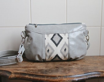 Gerbera Cross Body Bag in Grey Vegan Leather with Diamond Ikat Canvas