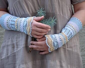 Pale blue - crocheted open work lacy romantic multicolored wedding wrist warmers mittens cuffs