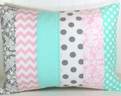 Mint Pink Gray Pillow Cover, Girl Nursery Pillow, Baby Girl Crib Bedding, 12 x 16 Inches, Baby Pink, Mint Green, Gray, Grey, Mint, White