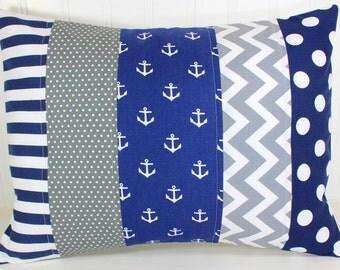 Pillow Cover, Baby Boy Nursery Decor, Patchwork Pillow Cover, Anchor Pillow, 12 x 16 Inches, Navy Blue, Grey, Gray, Chevron, Dots, Stripes