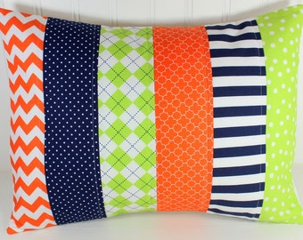 Pillow Cover, Baby Boy Nursery Decor, Patchwork Pillow Cover, Crib Bedding, 12 x 16 Inches, Navy Blue, Orange and Lime Green, Chevron, Dots
