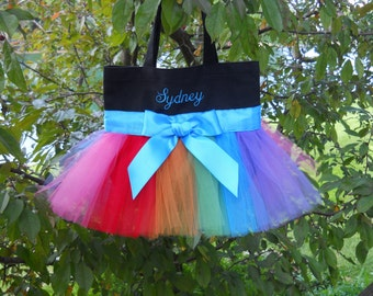 Dance bags, Ballet bags, Embroidered Dance Bag, Black Tote Bag, tutu tote bag, Personalized Tote Bag, tutu bags, MINI tutu bag,TB97 A