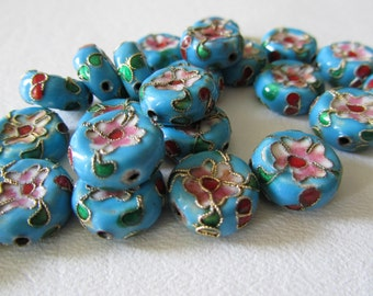 Turquoise Blue Cloisonne Round Flower Beads 4 Pieces