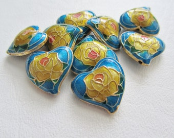 Blue Yellow Pink Rose Heart Cloisonne Bead, 4 beads