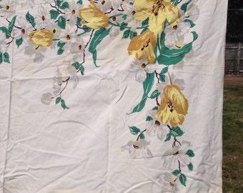 Vintage Tablecloth Dogwood & Lily