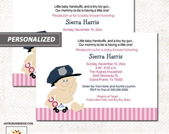 """Police Officer Baby Girl Pink Baby Shower Invitation """"Baby Cop"""" Printable File DIY invitation ~ Printed options available"""