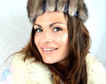 Vintage 1960s Mink Fur Unusual Hat - Coralie