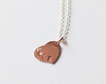 Rose Gold Heart Love Charm Necklace