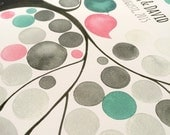 Rustic Wedding Guestbook Tree pastel watercolor modern art print - Oval Garden Tree - Alternative print